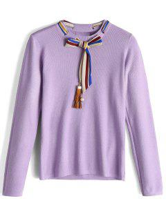 Fitting Bow Tied Fringed Sweater - Purple