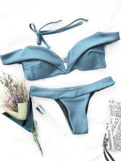 V Plunge Off Shoulder Bikini Swimwear - Bleu Clair L