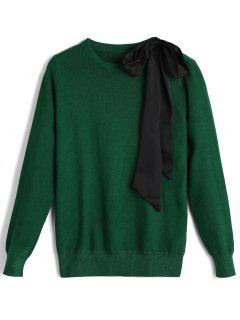 Fitting Contrasting Bowknot Sweater - Green