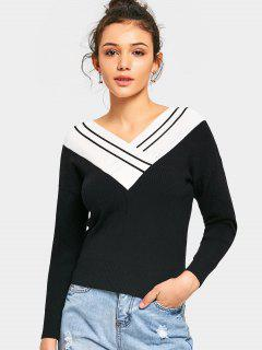 Fitting Two Tone V Neck Sweater - White