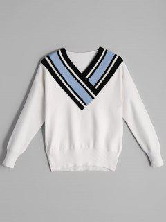 Fitting Two Tone V Neck Sweater - Bleu