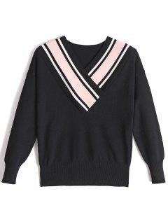 Fitting Two Tone V Neck Sweater - Pink