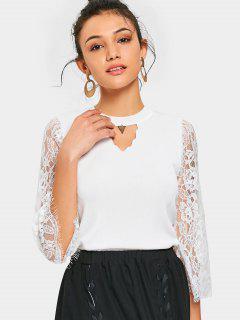Keyhole Sheer Lace Sleeve Knitwear - White