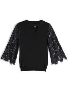 Keyhole Sheer Lace Sleeve Knitwear - Black