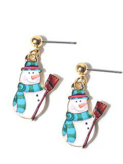 Alloy Ball Christmas Snowman Earrings - Blue