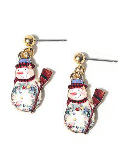 Alloy Ball Christmas Snowman Earrings
