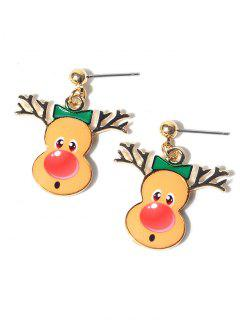 Christmas Elk Earrings - Yellow