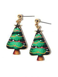 Christmas Tree Star Earrings - Green
