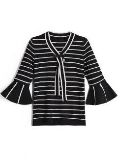Bow Tied Flare Sleeve Stripes Pullover Sweater - Black