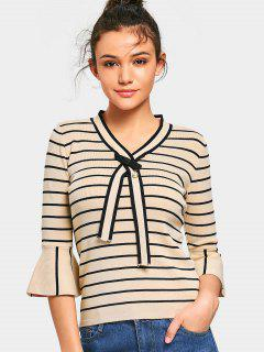 Bow Tied Flare Sleeve Stripes Pullover Sweater - Abricot
