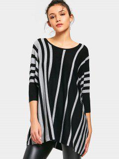 Oversized Batwing Stripes Pullover Sweater - Stripe