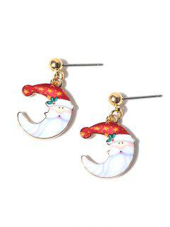 Christmas Santa Moon Earrings - Red