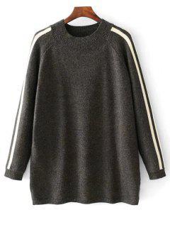 Suéter De Gran Tamaño Con Rayas Laterales - Gris Oscuro