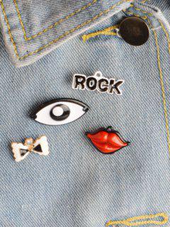 Rock Bows Eye Lips Brooch Set