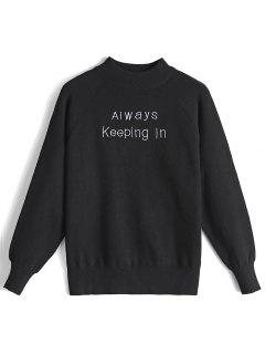 Letter Embroidered Mock Neck Pullover Sweater - Black