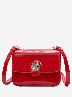 Metal Stitching Patent Leather Crossbody Bag - Red