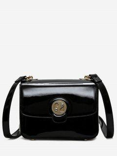Metal Stitching Patent Leather Crossbody Bag - Black