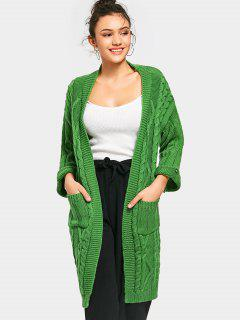Cable Knit Open Front Cardigan With Pockets - Green