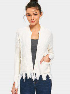Pockets Distressed Open Front Cardigan - White