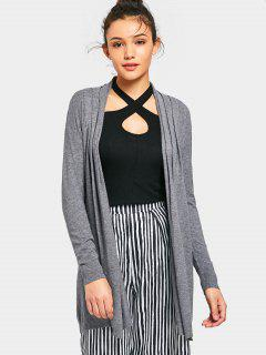 Long Open Front Knit Cardigan - Gray