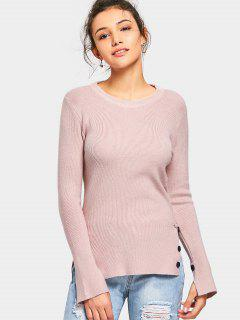 Open Sleeve Side Buttoned Sweater - Pink