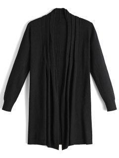 Long Open Front Knit Cardigan - Black