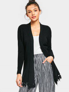 Tassels Open Front Knit Cardigan - Black