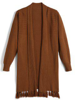 Tassels Open Front Knit Cardigan - Coffee
