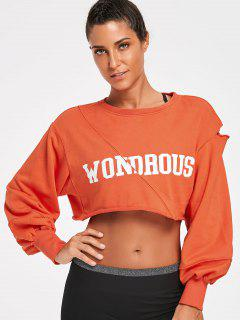 Ripped Wondrous Cropped Sweatshirt - Orange S