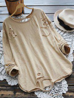 T-shirt à Manches Longues épaillées - Kaki Clair