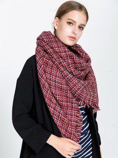 Small Plaid Fringed Blanket Scarf - Wine Red