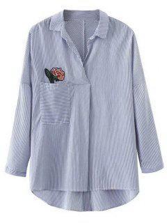 Striped Flower Applique Oversized Shirt - Stripe L
