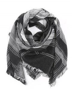 Fringed Plaid Knit Blanket Scarf - Black