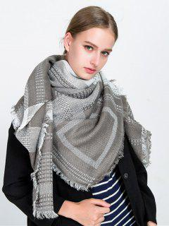 Fringed Plaid Knit Blanket Scarf - Gray