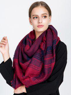 Fringed Plaid Knit Blanket Scarf - Wine Red