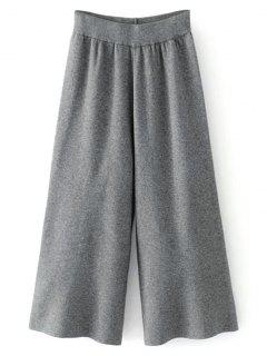 Knit High Waisted Gaucho Pants - Deep Gray