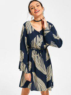 Leaf Print Long Sleeve Drawstring Dress - Deep Blue M