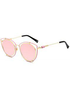 Hollow Out Double Rims Cat Eye Sunglasses - Papaya