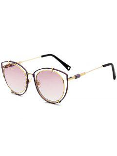 Hollow Out Double Rims Cat Eye Sunglasses - Pink