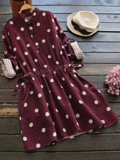 Side Pockets Polka Dot Flare Dress - Deep Red