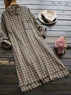 Frayed Hem Slit High Low Checked Dress - Ginger