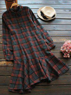Half Button Asymmetric Hem Tartan Dress - Dark Red