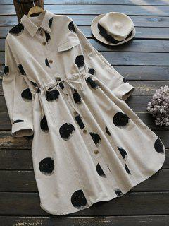 Round Print Drawstring Shirt Dress - Light Khaki
