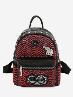 Striped Cute Pattern Rivet Backpack - Red