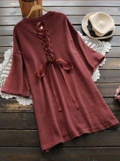 Back Lace Up Side Slit Sweater Dress - Brick-red