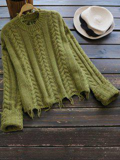 Crew Neck Cable Knit Pullover Sweater - Olive Green