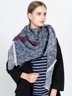 Stripe Panel Fringed Blanket Scarf - Cadetblue