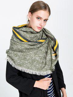 Stripe Panel Fringed Blanket Scarf - Blackish Green