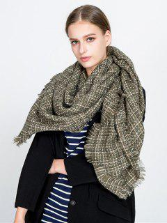 Small Plaid Fringed Blanket Scarf - Green