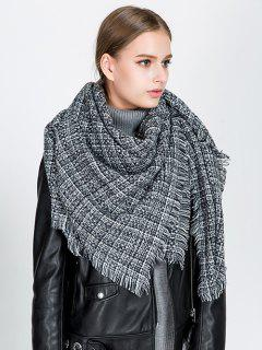 Small Plaid Fringed Blanket Scarf - Black
